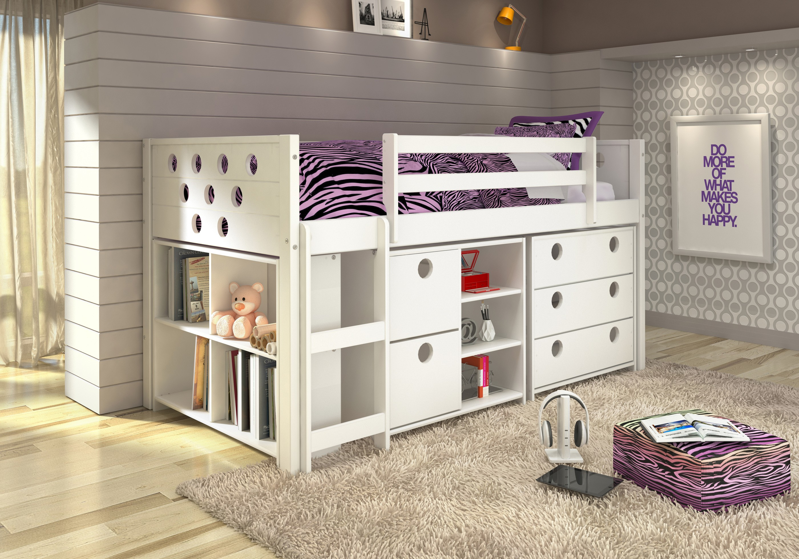 Donco 174 White Circles Modular Twin Loft Bed With Storage