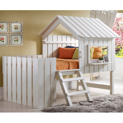 Donco Twin Cabana Low Loft Bed Rustic Pearl Finish Right Futons