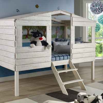 Donco Kids Tree House Loft Bed Rustic Sand Finish