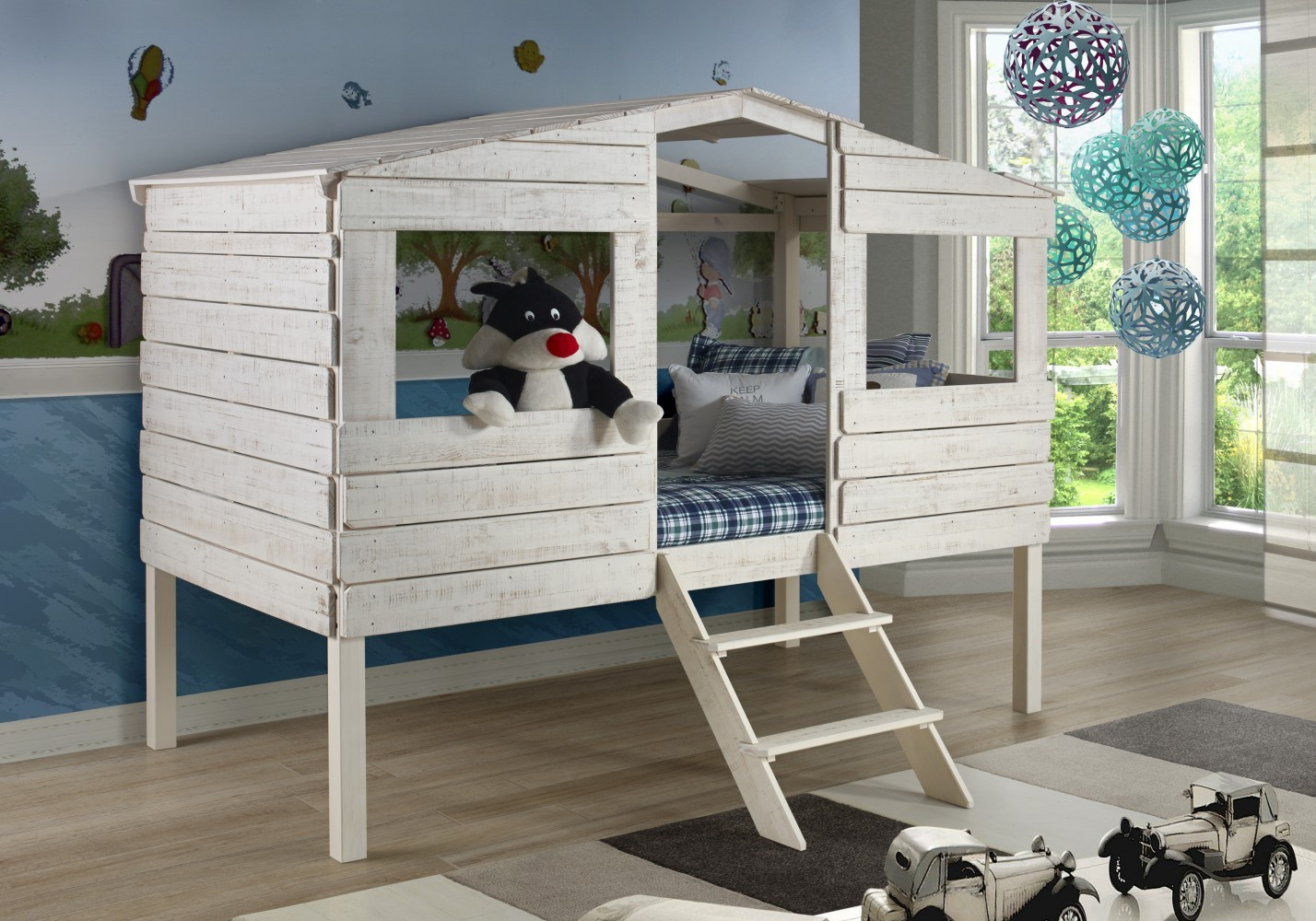 Donco Kids Tree House Loft Bed Rustic