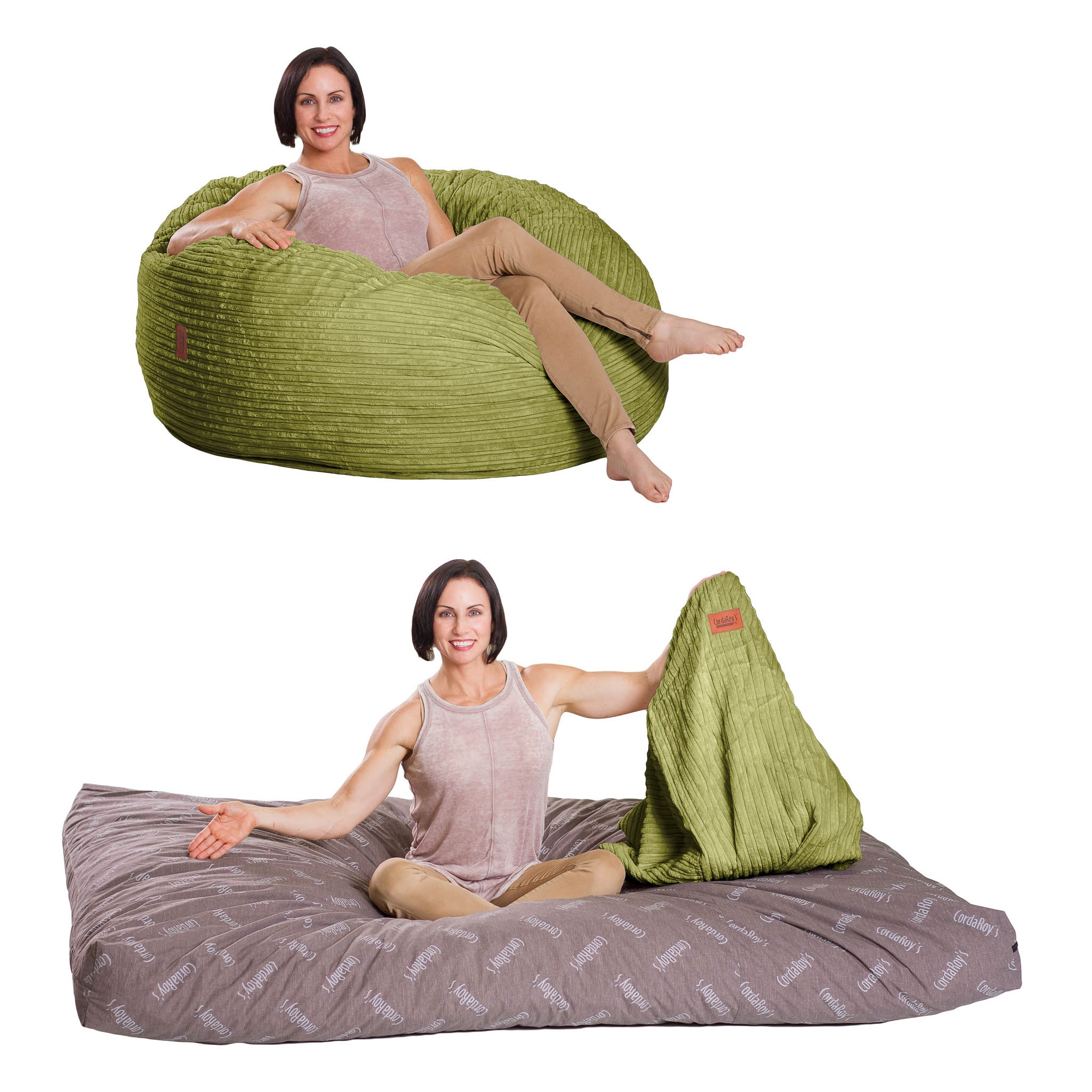 Full Size Lime Corduroy Bean Bag Converts To A Bed