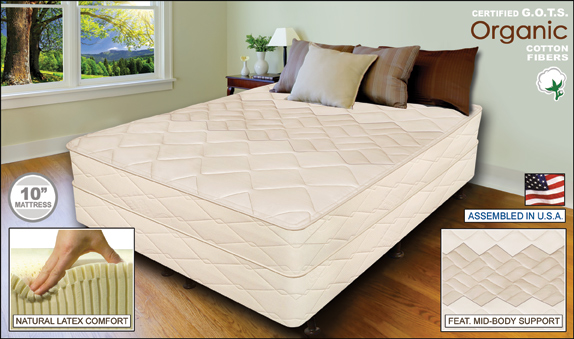 White Night 10 Natural Latex Mattress Full