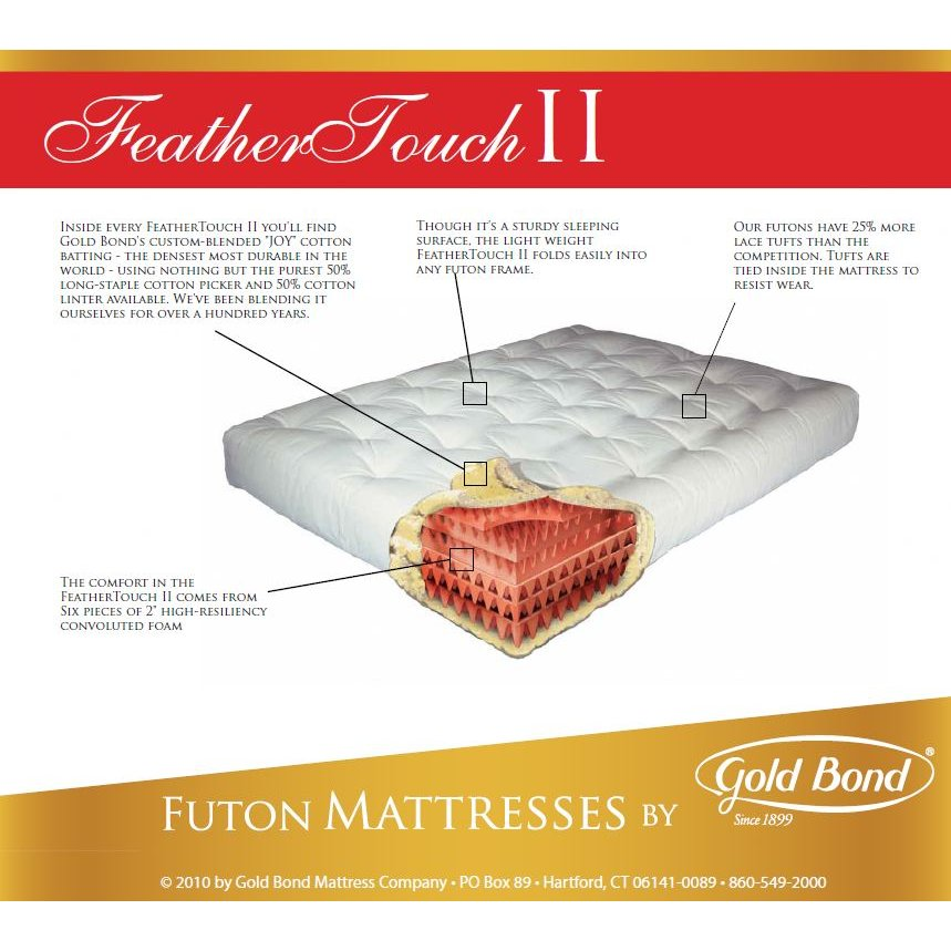 9 Feather Touch Ii Futon Mattress By Gold Bond Right Futons Waterbeds