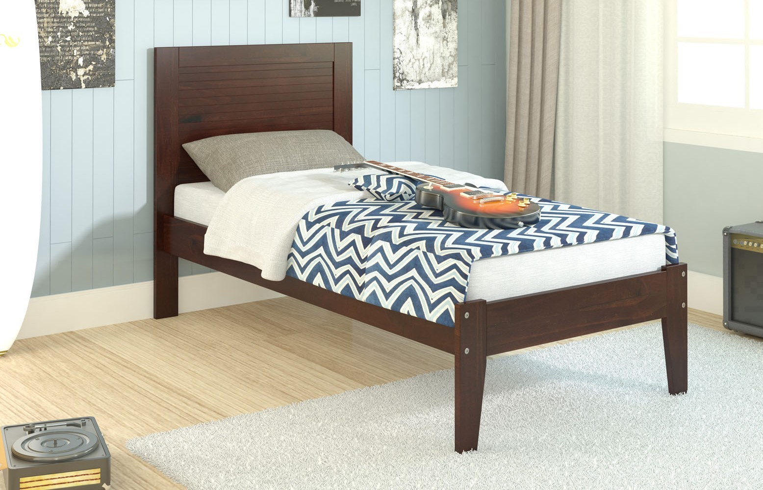 Twin panel bed with slat kit mattress ready right for Panel bed mattress